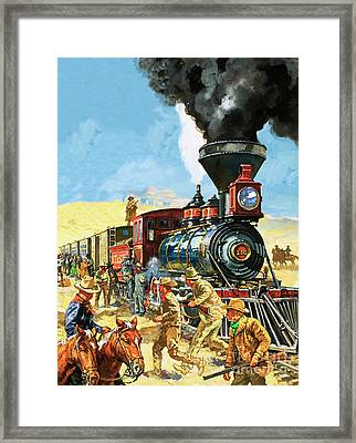 Butch Cassidy And The Sundance Kid Hold Up A Union Pacific Railroad Train Framed Print