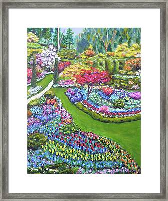 Framed Print featuring the painting Butchart Gardens by Amelie Simmons