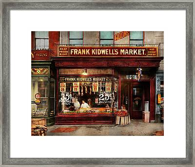 Butcher - Meat Priced Right 1916 Framed Print by Mike Savad