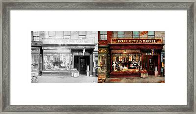 Framed Print featuring the photograph Butcher - Meat Priced Right 1916 - Side By Side by Mike Savad