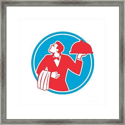 Butler Serving Food Platter Circle Retro Framed Print by Aloysius Patrimonio