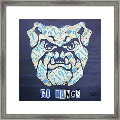Butler University Indiana Bulldogs Mascot License Plate Art Logo Framed Print by Design Turnpike