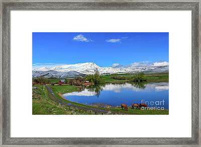 Butte Farm After Spring Snow Framed Print by Robert Bales
