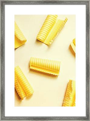 Butter Curls On White Background Framed Print