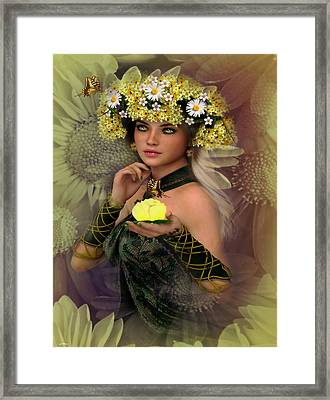 Butterflies And Daisies Framed Print