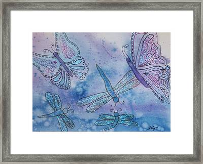 Framed Print featuring the painting Butterflies And Dragonflies by Ellen Levinson