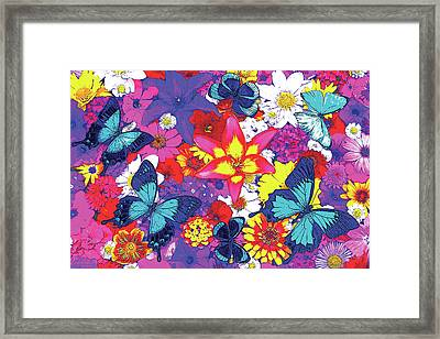 Butterflies And Flowers Framed Print by JQ Licensing
