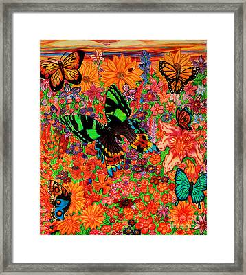 Butterflies And Flowers Framed Print by Nick Gustafson