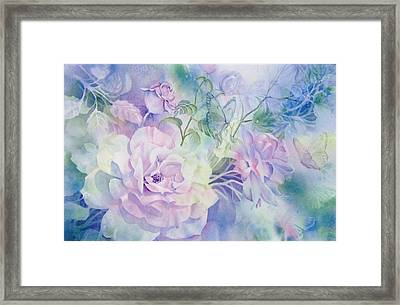Butterflies-and-roses Framed Print by Nancy Newman