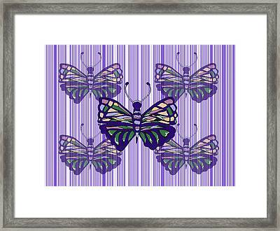 Butterflies And Stripes Framed Print