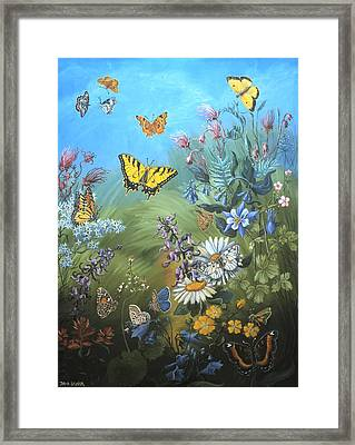 Butterflies And Wildflowers Of Wyoming Framed Print