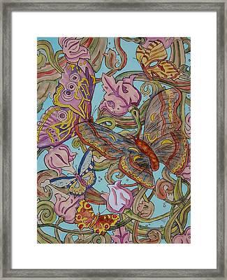 Butterflies Everywhere Framed Print by Laura Heggestad