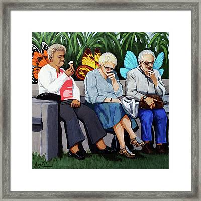 Framed Print featuring the painting Butterflies Like Ice Cream Too by Linda Apple
