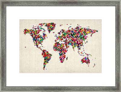 Butterflies Map Of The World Framed Print by Michael Tompsett