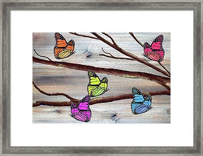 Butterflies On Rustic Background Framed Print by Ken Figurski