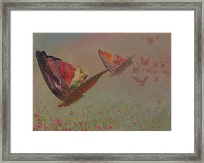 Butterflies With Riders Framed Print