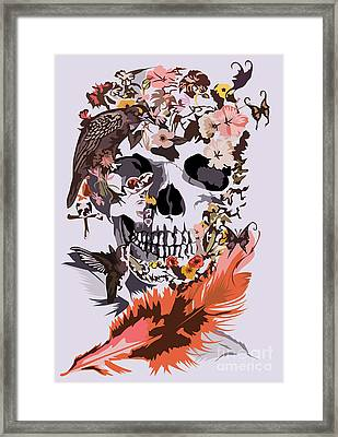 Butterfly And Birds Sugar Skull Framed Print by Three Second