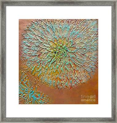 Butterfly And Flower Happy Framed Print