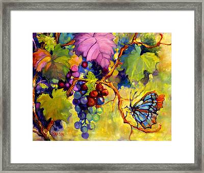 Butterfly And Grapes Framed Print by Peggy Wilson