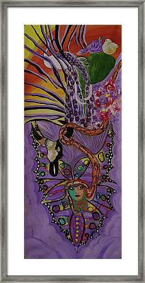 Framed Print featuring the painting Butterfly And The Peacock by Sima Amid Wewetzer