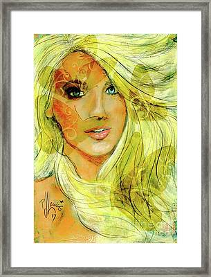 Framed Print featuring the painting Butterfly Blonde by P J Lewis
