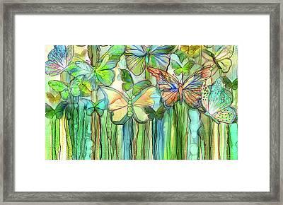 Butterfly Bloomies 3 - Rainbow Framed Print