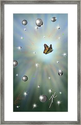 Framed Print featuring the digital art Butterfly Bubbles by Darren Cannell