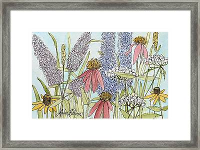 Butterfly Bush In Garden Framed Print