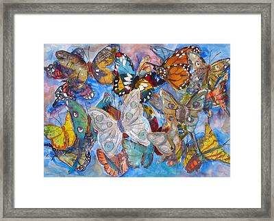 Butterfly Collage Framed Print by Joyce Kanyuk
