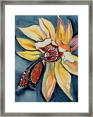 Butterfly -cross Hatch Framed Print by Janet Doggett