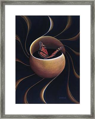 Butterfly Crossing Through The Portal Framed Print
