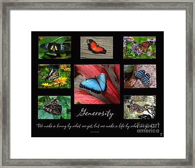 Framed Print featuring the photograph Butterfly Generosity Collage by Diane E Berry