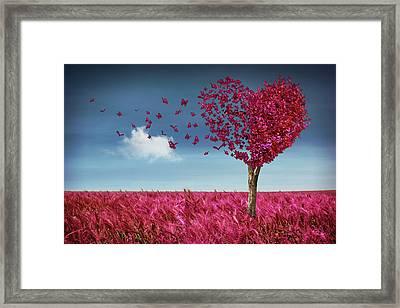 Butterfly Heart Tree Framed Print