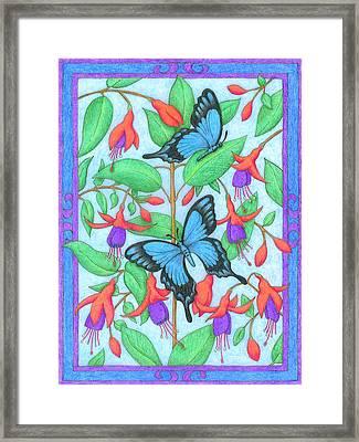 Butterfly Idyll-fuchsias Framed Print