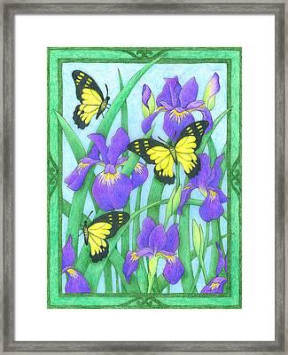 Butterfly Idyll-irises Framed Print