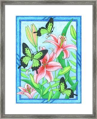 Butterfly Idyll- Lilies Framed Print