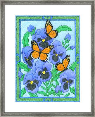 Butterfly Idyll-pansies Framed Print