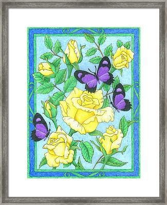 Butterfly Idyll-roses Framed Print