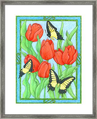 Butterfly Idyll-tulips Framed Print