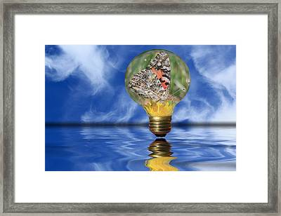 Butterfly In Lightbulb - Landscape Framed Print by Shane Bechler