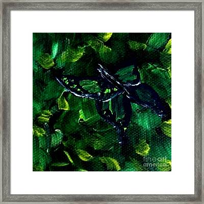Framed Print featuring the painting Butterfly In The Bush by Janelle Dey