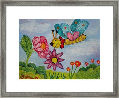 Butterfly In The Field Framed Print by Ioulia Sotiriou