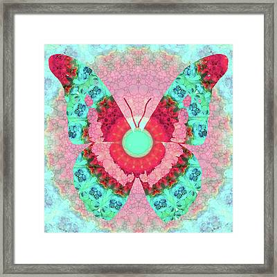 Butterfly Mandala 3 Art By Sharon Cummings Framed Print