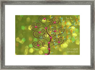 Butterfly Of Heart Tree Framed Print by Kim Prowse