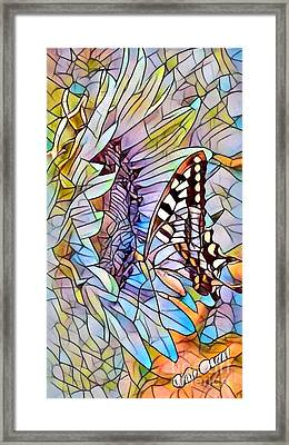 Butterfly On Sunflower - Stained Glass Abstract Framed Print