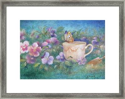 Framed Print featuring the painting Butterfly On Teacup by Judith Cheng
