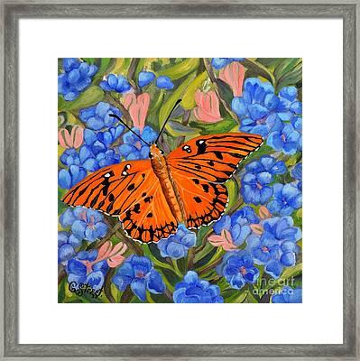 Butterfly Orange Framed Print by Caroline Street