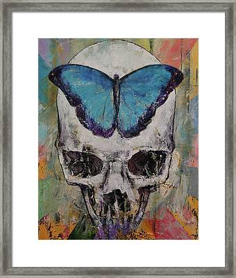 Butterfly Skull Framed Print by Michael Creese