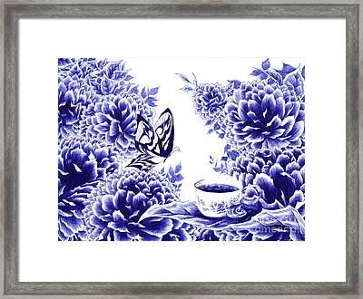Butterfly Teatime Framed Print