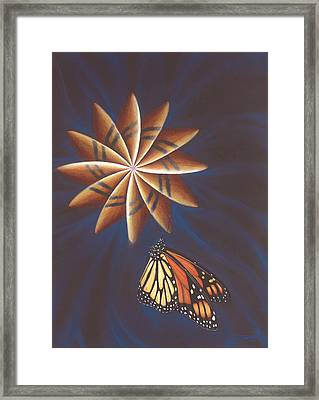 Butterfly Touching The Closed Portal Framed Print by Robin Aisha Landsong